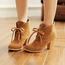 Shoespie Nubuck Lace up Chunky Heels Ankle Boots