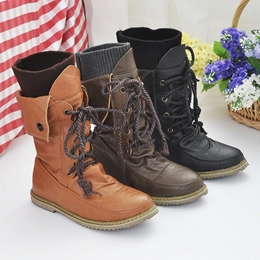 Shoespie Lace Up Flat Ankle Boots