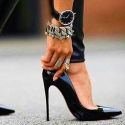 Shoespie Black Pointed Toe Stiletto High Heel