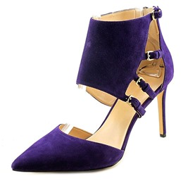 Shoespie Purple Suede Hasp Zipper Stiletto Heels