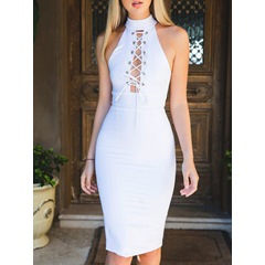 Shoespie White Halter Lace Up Bodycon Dress