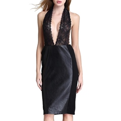 Shoespie Sleeveless Pullover Backless Patchwork Lace Dress