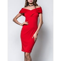 Pencil Plain Knee-Length Short Sleeve Bodycon Dress