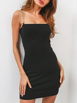 Shoespie Black Chain Spaghetti Strap Bodycon Dress