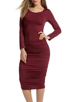 Shoespie Round Neck Pleated Mid-CalfBodycon Dress