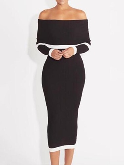Shoespie Slash Neck Backless Long Sleeve Bodycon Dress