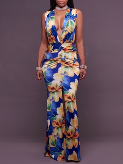 Shoespie V-Neck Print Floral Floor-Length Sleeveless Bodycon Dress