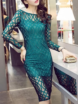 Shoespie Backless See-Through Zipper Long Sleeve Bodycon Dress