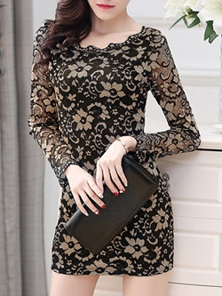 Shoespie Round Neck Hollow Lace Floral Long Sleeve Bodycon Dress