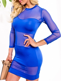 Shoespie Round Neck See-Through Dress