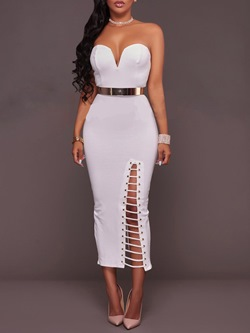 Shoespie StraplessMid-Calf Hollow Backless Sleeveless Bodycon Dress
