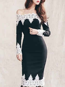 Shoespie Lace Slash Neck Patchwork Long Sleeve Bodycon Dress