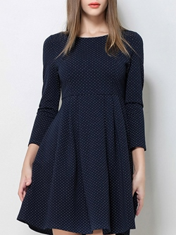 Shoespie Cotton Blends A-Line Round Neck Three-Quarter Sleeve Dress