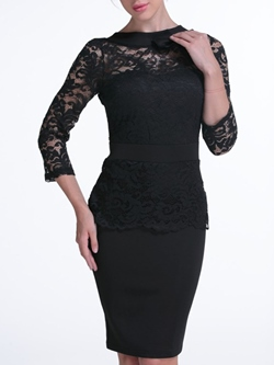 Shoespie Patchwork Lace Zipper Knee-Length Three-Quarter Sleeve Bodycon Dress