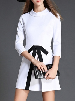 Shoespie Round Neck A-Line Bow Three-Quarter Sleeve Dress