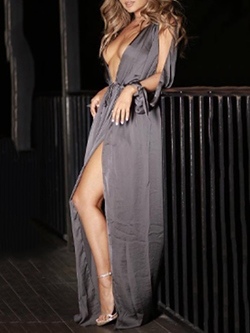 Shoespie Asymmetrical See-Through V-Neck Lantern Sleeve Dress