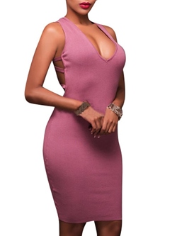 Shoespie Hollow Backless Patchwork V-Neck Sleeveless Bodycon Dress