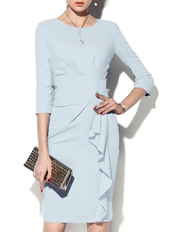 Shoespie Falbala Knee-Length Office LadyRound Neck Three-Quarter Sleeve Bodycon Dress