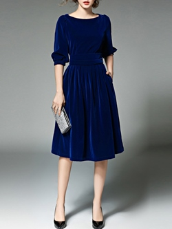 Shoespie Expansion Pleated Three-Quarter Sleeve Dress