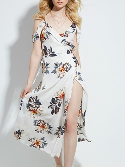 Shoespie V-Neck Flower Print Backless Women's Maxi Dress