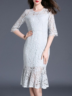 Shoespie Lace Round Neck Mermaid Floral Half Sleeve Bodycon Dress