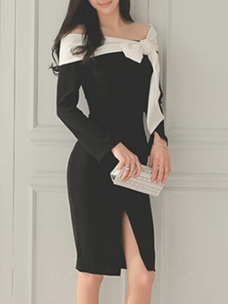 Shoespie Patchwork Bow Slash Neck Color Block Long Sleeve Bodycon Dresses