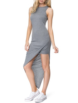 Shoespie Round Neck Asymmetrical Stripe Plain Sleeveless Bodycon Dress