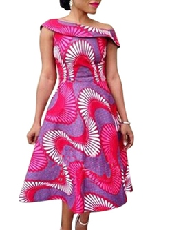 Shoespie Print Expansion Cap Sleeve Dresses
