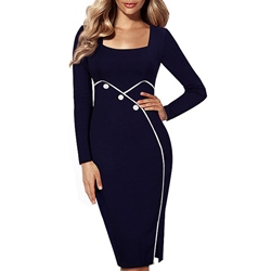 Shoespie Button Knee-Length Square Neck Long Sleeve Bodycon Dress