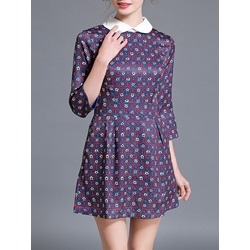 Shoespie Peter Pan Collar Floral Three-Quarter Sleeve A-Line Dress