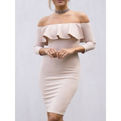 Shoespie Off Shoulder Sheath Bodycon Dress