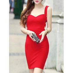 Shoespie Plain Suspenders Backless Sleeveless Bodycon Dress