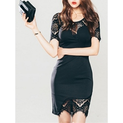 Shoespie Hollow Lace Short Sleeve Bodycon Dress