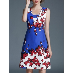 Shoespie Floral A-Line Sleeveless Bodycon Dress