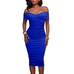 Shoespie Summer Pencil Pleated Backless Slash Neck Bodycon Dress