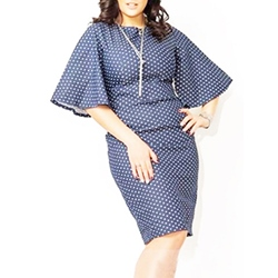 Shoespie Flare Sleeve Round Neck Knee-Length Polka Dots Bodycon Dress