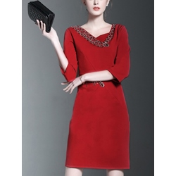 Shoespie Above Knee Three-Quarter Sleeve Bodycon Dress