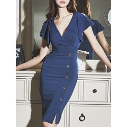 Shoespie V-Neck Flare Sleeve Knee-Length Short Sleeve Bodycon Dress