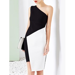 Shoespie Asymmetric Oblique Collar One-Shoulder Bodycon Dress