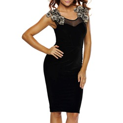 Shoespie Lace Back Sleeveless Bodycon Dress
