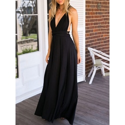 ShoespieExpansion Backless Plain Sleeveless Dress