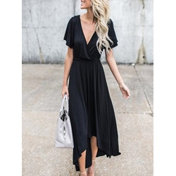 Shoespie V-Neck Asymmetric Expansion Ankle-Length Short Sleeve Bodycon Dress