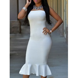 Shoespie Falbala Backless Slash Neck Mermaid Strapless Bodycon Dress