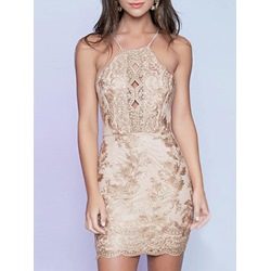 Shoespie Floral Embroidery Spaghetti Strap Bodycon Dress
