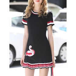 Shoespie Falbala Embroidery Travel Look Animal Short Sleeve A-Line Bodycon Dress