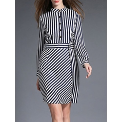 Shoespie Stripe Pencil Above Knee Single-Breasted Long Sleeve Bodycon Dress