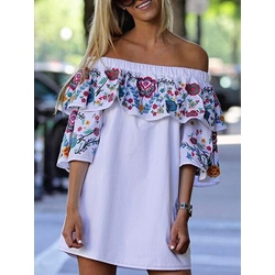 Shoespie Three-Quarter Sleeve Patchwork Print Dress
