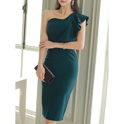 Shoespie Oblique Collar Falbala One-Shoulder Sleeveless Bodycon Dress