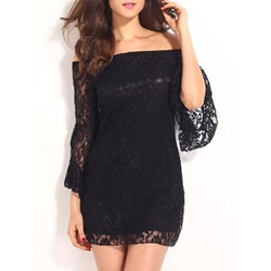 Shoespie Slash Neck Patchwork Lace Long Sleeve Bodycon Dress