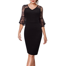 Shoespie See-Through Lace Flare Three-Quarter Sleeve Bodycon Dress